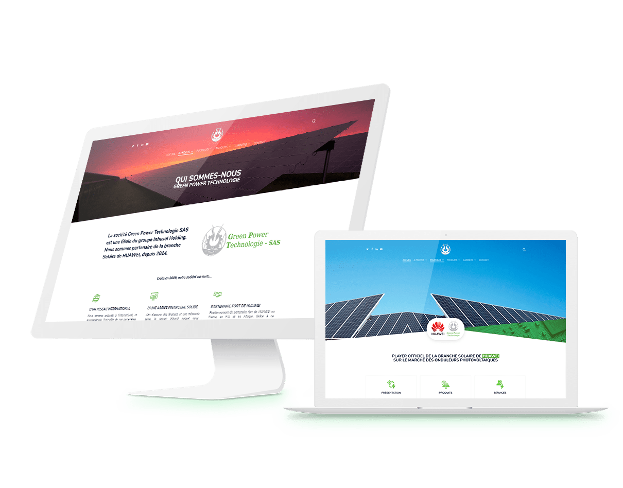 mockup Green Power Technologie Huawei site wordpress agence webdesign lyon arkanite developpement application mobile graphisme illustration boutique en ligne ecommerce commerce