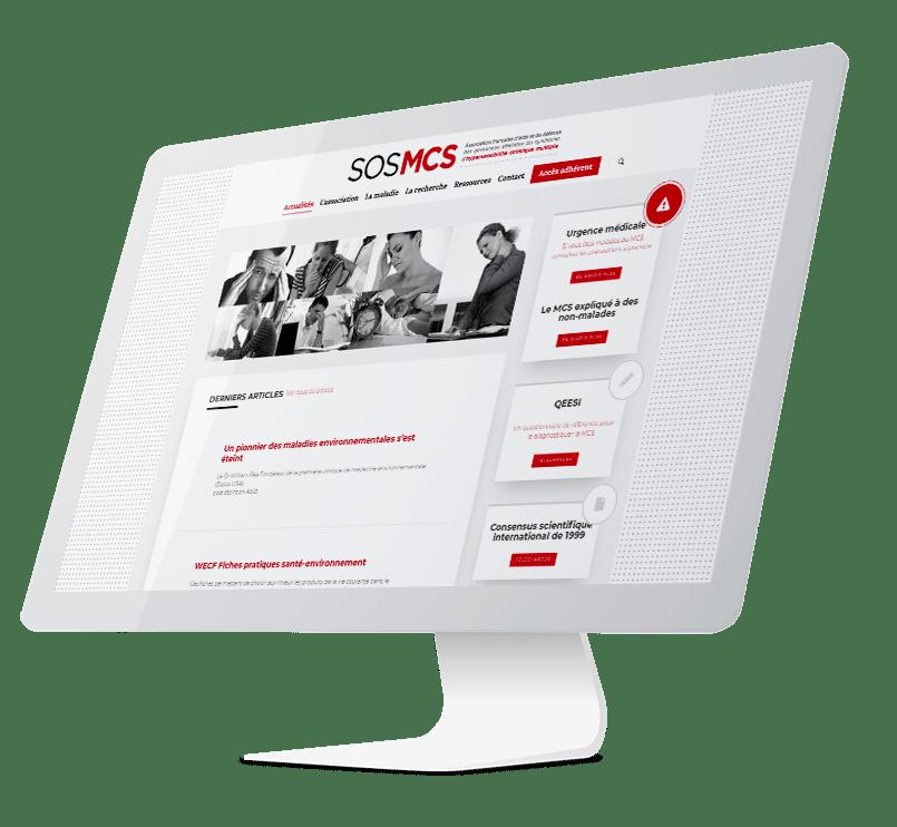 SOS MCS wordpress agence web design lyon arkanite developpement application mobile graphisme logo icones illustration ecommerce boutique en ligne imac