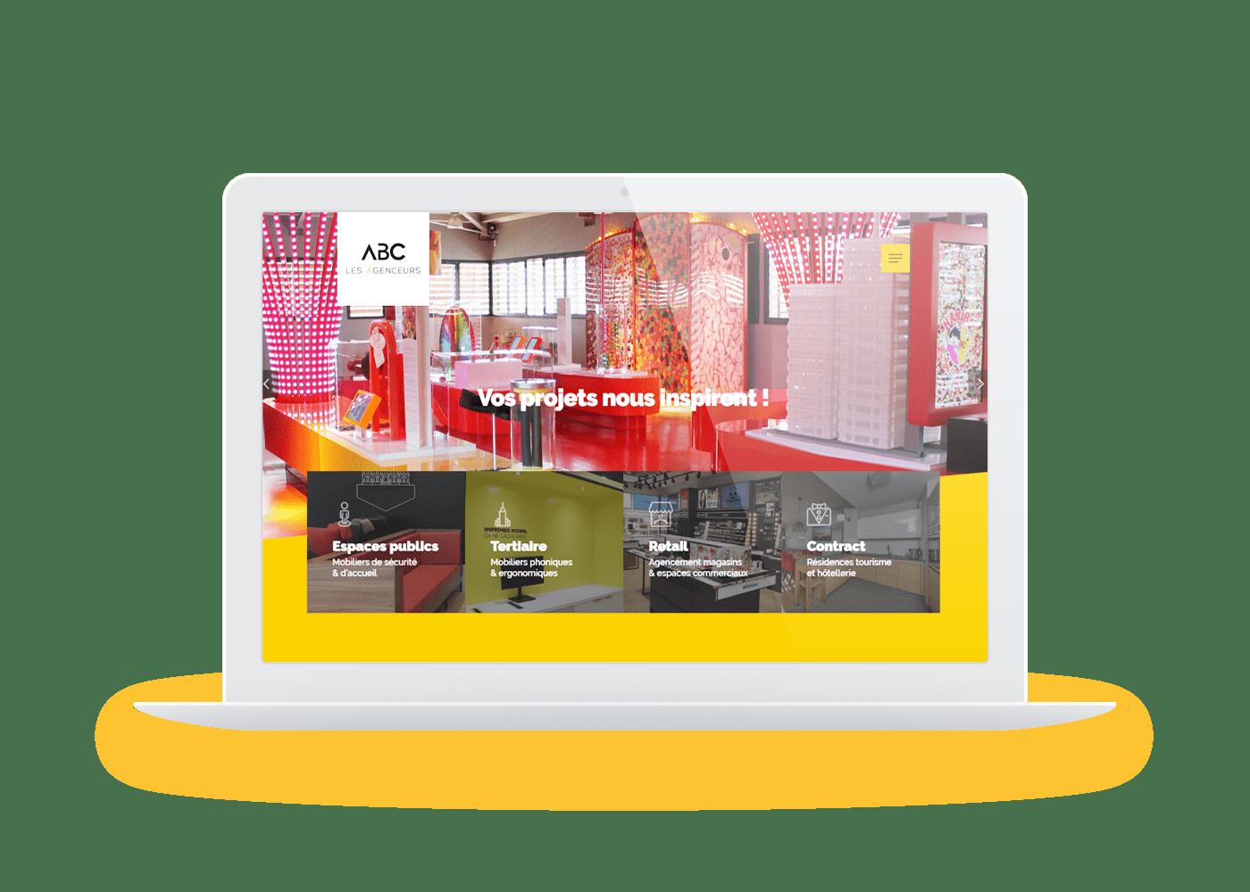 abc agencement macbook wordpress agence web lyon arkanite design graphisme ecommerce commerce boutique en ligne illustrations logos meilleure