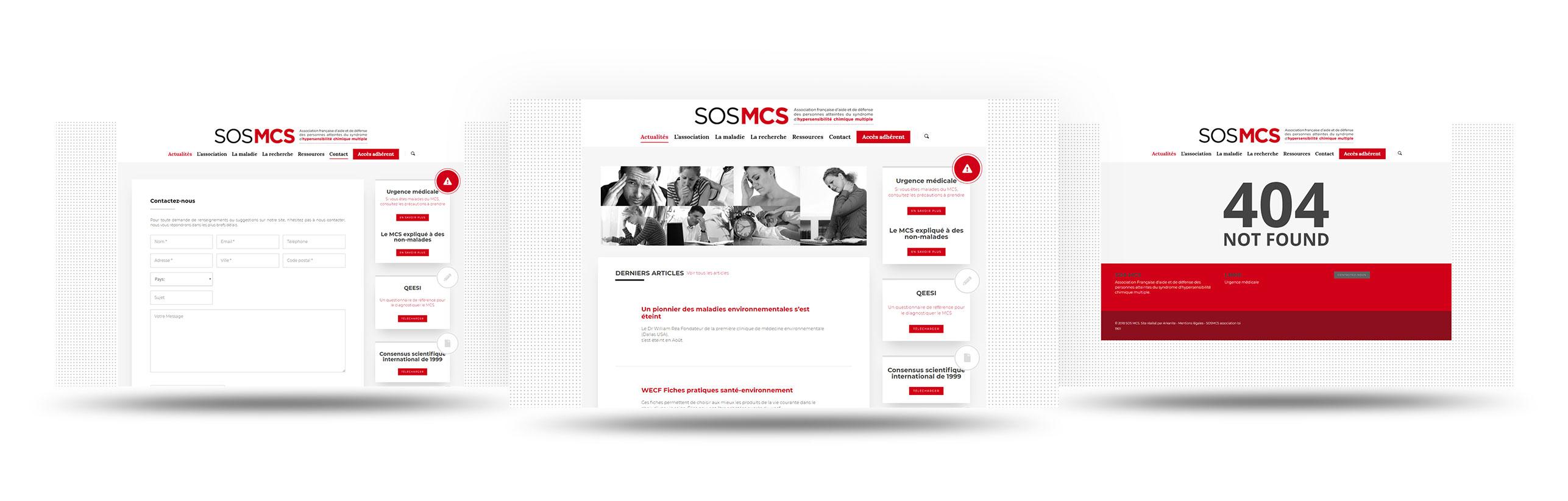 interface pages SOS MCS wordpress agence web design lyon arkanite developpement application mobile graphisme logo icones illustration ecommerce boutique en ligne