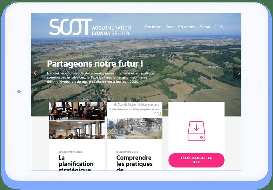 ipad scot agglolyon interface site wordpress agence web design developpement application mobile graphisme illustration logo lyon